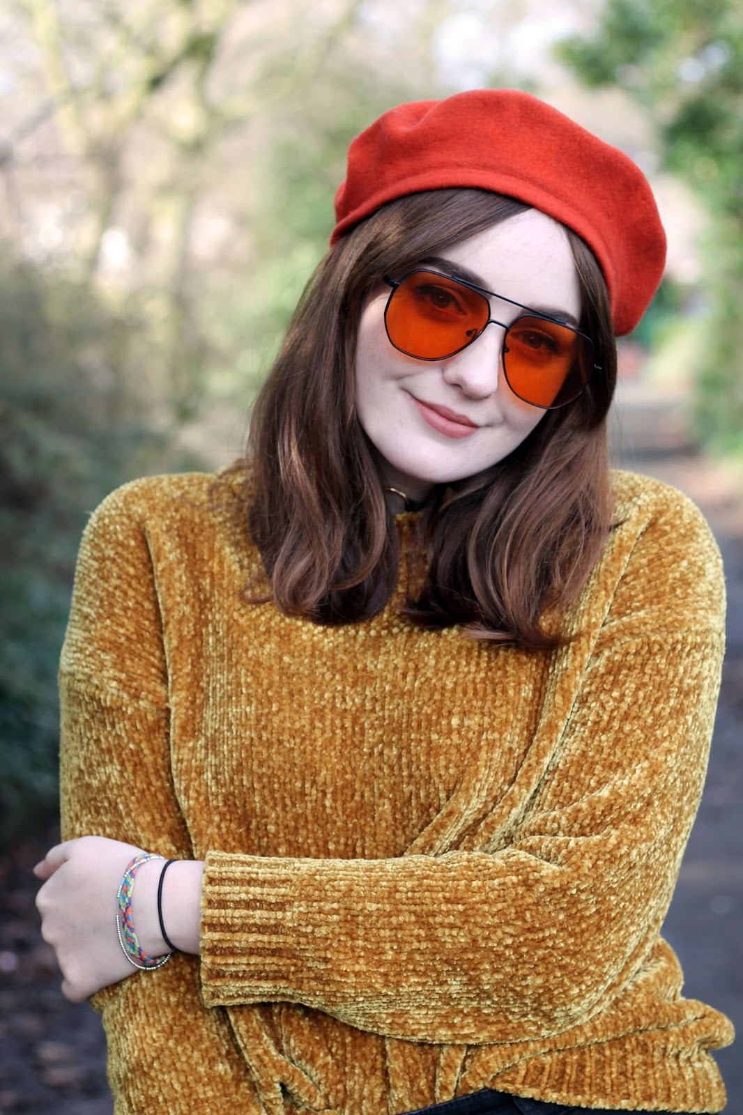 Liverpool style blogger wearing burned orange vintage Mary Quant beret, orange tint aviator sunglasses with black metal frames and mustard chenille jumper