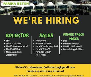 Info Lowongan Kerja PT.Frika Beton Kolektor Sales Driver Jakarta