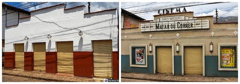 Comércio de Catas Altas e cinema de São Miguel: minissérie Se Eu Fechar os Olhos Agora. Foto do cenário: Marilane Batista/Ascom