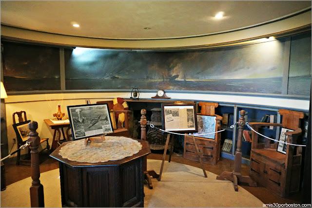 Habitación de la Guerra con el Mural del Ataque a Gloucester en el Castillo Hammond