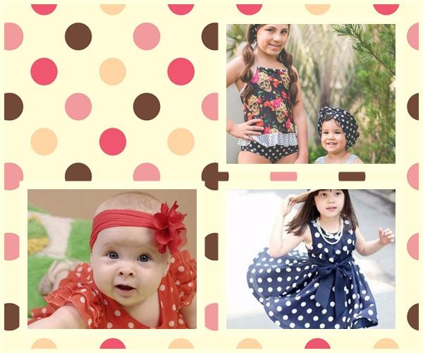 vestido para crianças com estampas de bolinhas e maiôs