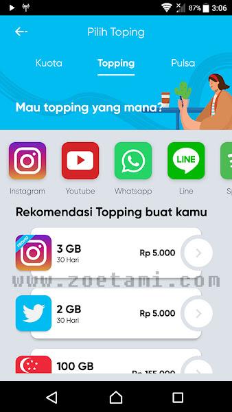 Fitur Topping di Aplikasi by.U