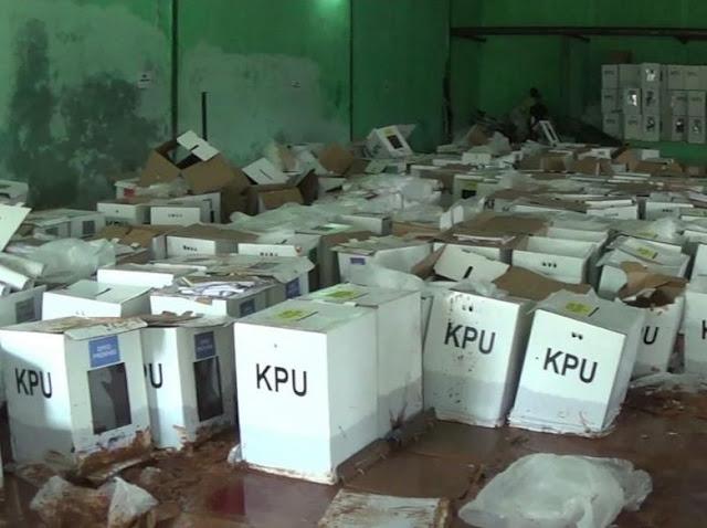 680 Kotak Suara di Bogor Rusak Terendam Lumpur