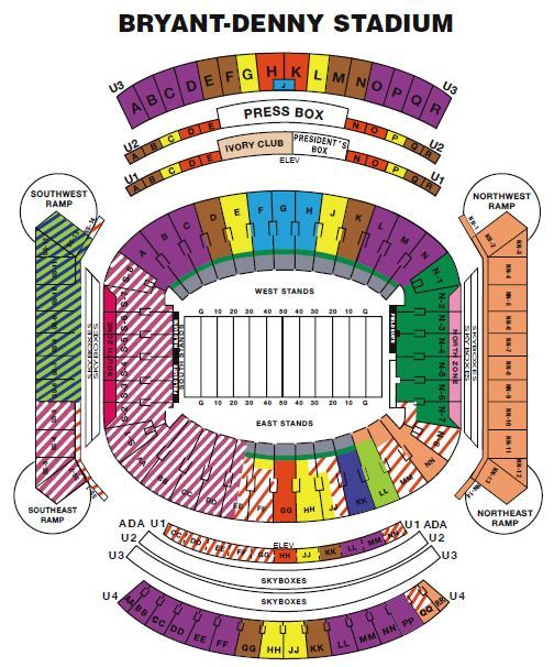 Alabama Crimson Tide Football Seating Chart & Interactive Map  - bryant denny stadium seating