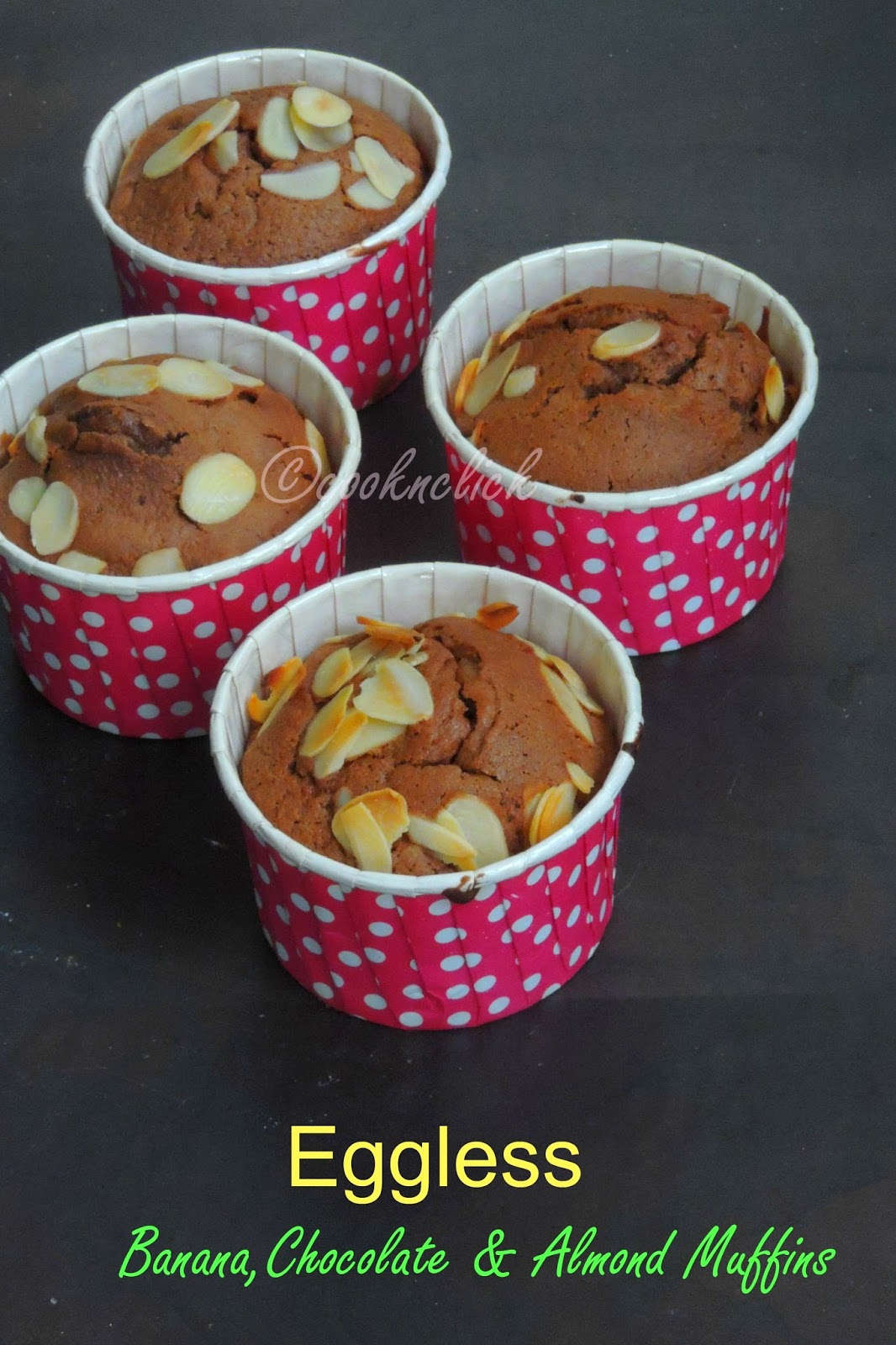 Eggless Banana,Chocolate & Almond muffins