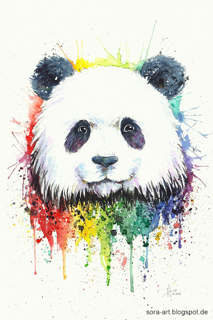 panda watercolor rainbow drawing