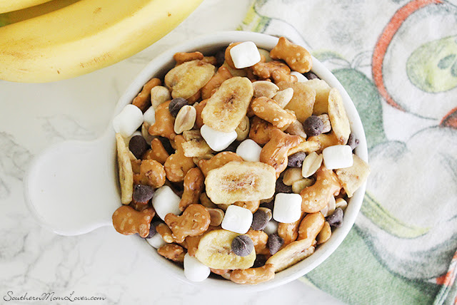 Banana Rocky Road Pretzel Goldfish Snack Mix