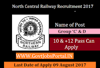 North Central Railway Recruitment 2017– 08 Group 'C' & D