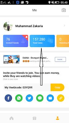 Cara Menukarkan Coins Aplikasi VeeU dengan Dollar Gratis