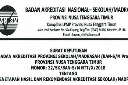 Pengumuman Hasil Akreditasi S/M SD, SMP, Dan SMA/ SMK Provinsi Nusa Tengara Timur (NTT) Tahun 2018