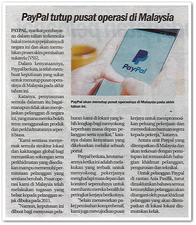 PayPal tutup pusat operasi di Malaysia - Keratan akhbar Sinar Harian 22 Februari 2019
