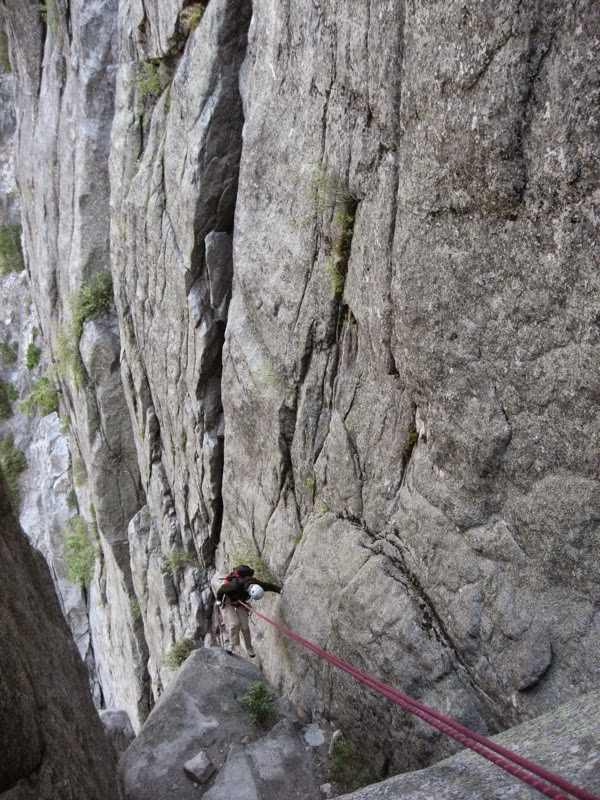 The Rappel behind the Flying Buttress - Photo courtesy of Steph Abegg.