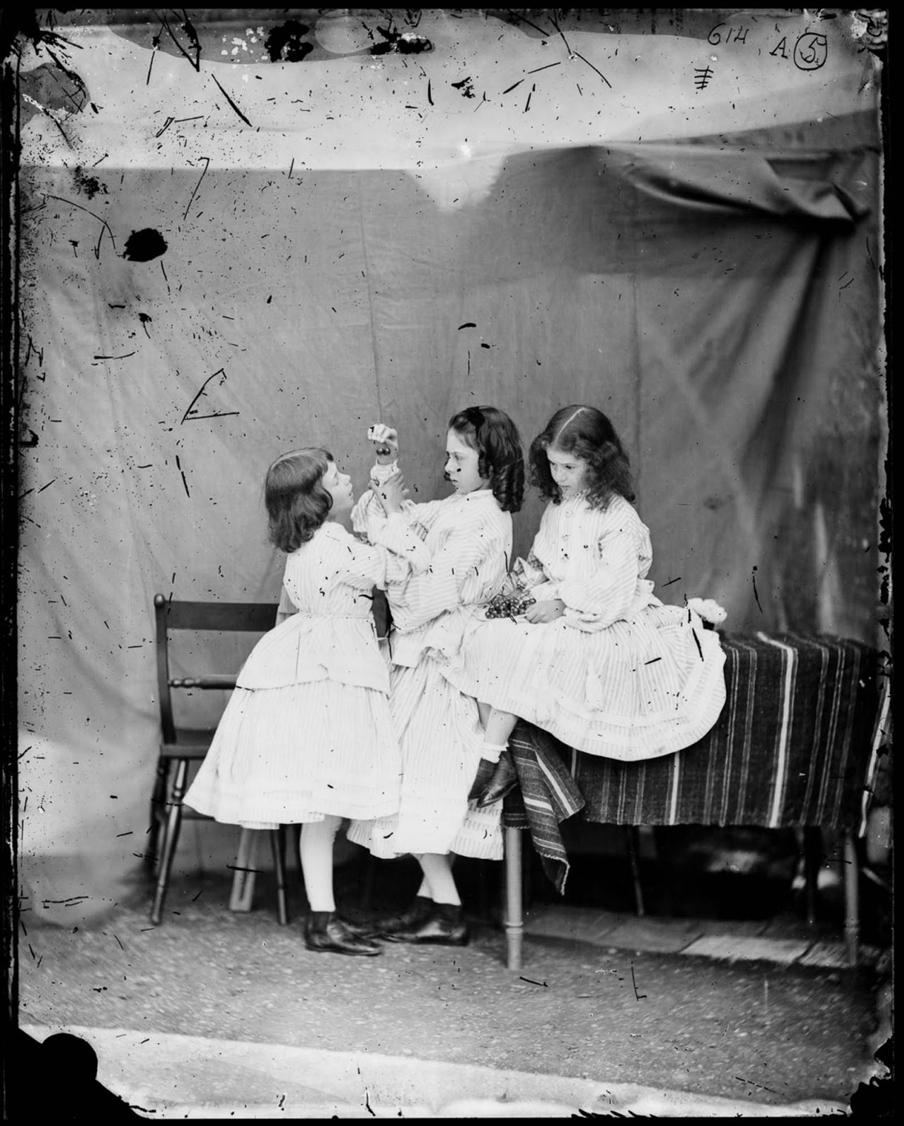 Edith, Ina and Alice Liddell. July, 1860.