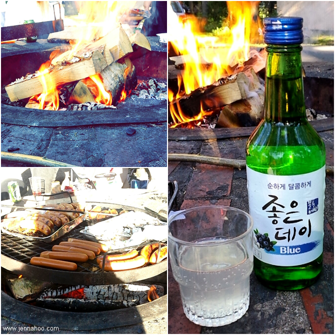 Campfire and soju bottle
