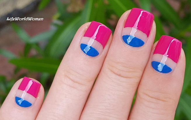 Blue and Pink Negative Space Nails | Gorgeous Spring Nail Designs To Brighten Up The Season