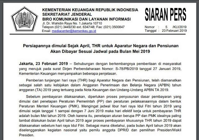 Pemberian tunjangan hari raya (THR) bagi Aparatur Negara dan Pensiunan Dijadwalkan Pada Bulan Mei 2019