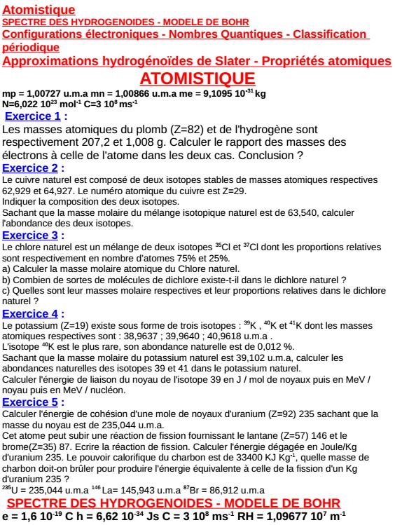 Exercices corrigés d'Atomistique SMPC