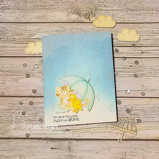 I'm Here for You Card by Nakaba Rager | Newton's Rainy Day Stamp Set and Sky Borders Die Set by Newton's Nook Designs #newtonsnook #handmade