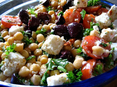 Chickpea, Olive and Feta Cheese Salad