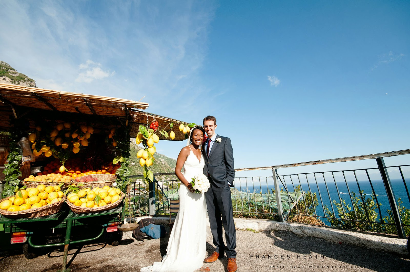 Bride and groom with Amalfi coast lemons