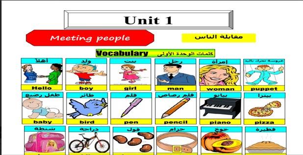 مذكرة فى اللغة الانجليزية للصف الثاني الإبتدائي ترم أول