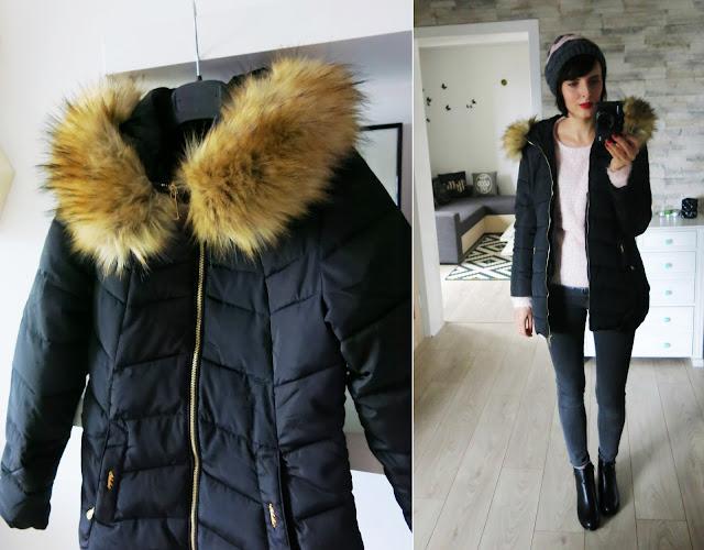 Ciepła czarna kurtka - płaszczyk od DressLily