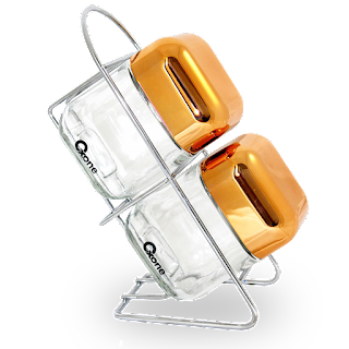 OX-352R Oxone 2Pcs Rosegold Cube Storage Jar with Rack