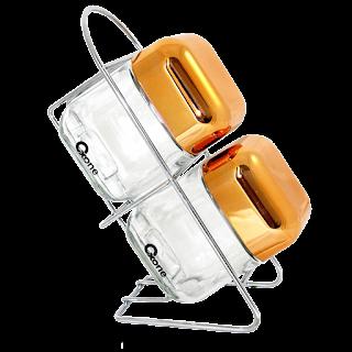OX-352R Oxone 2Pcs Rosegold Cube Storage Jar with Rack