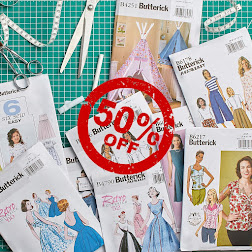 50% off Butterick sewing patterns