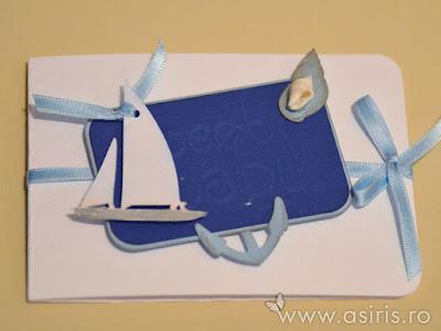 Invitatii botez handmade personalizate Sweet baby bleu cu scoica si barcuta