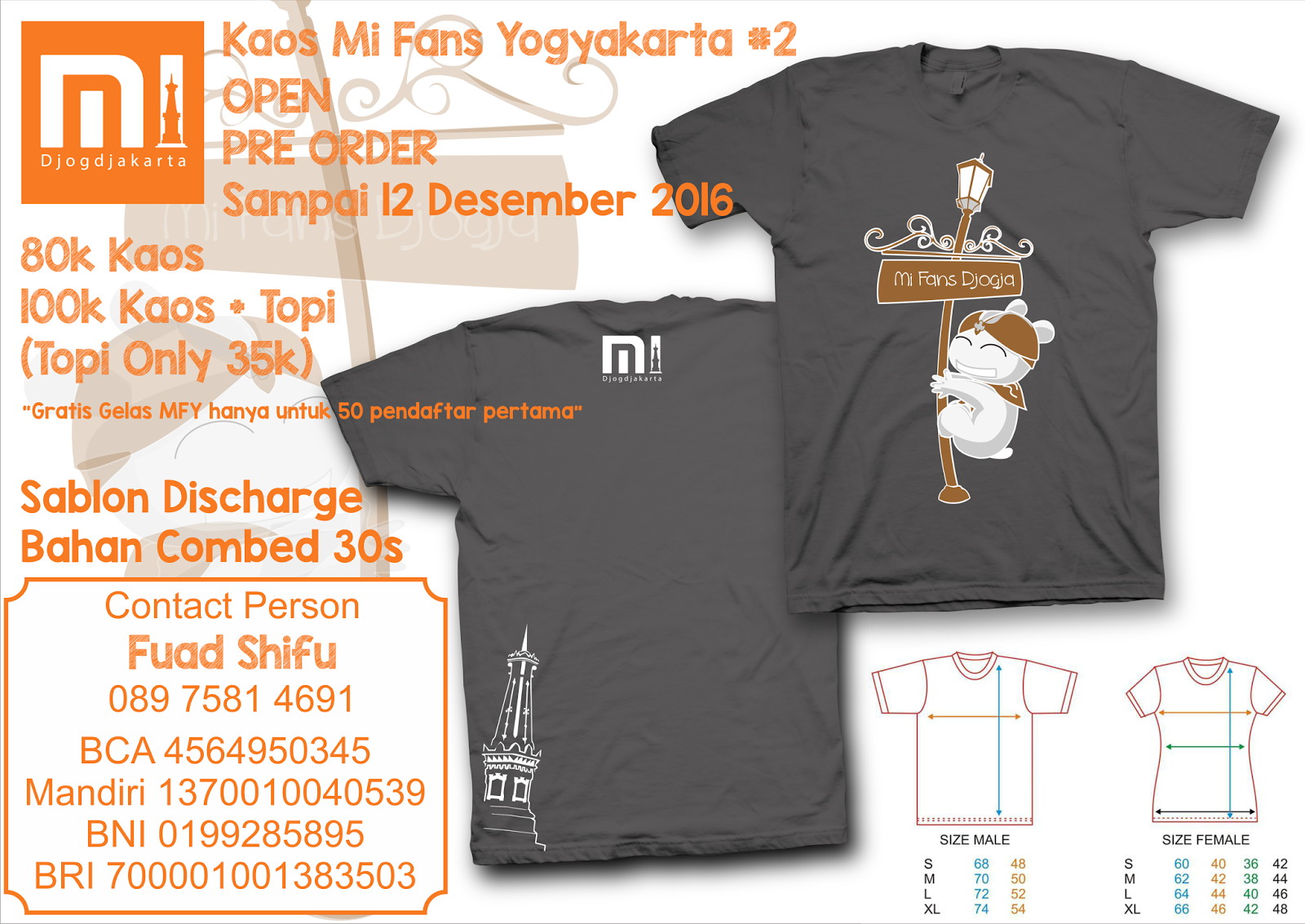 Pre Order Kaos 2 Mi Fans Regional Yogyakarta