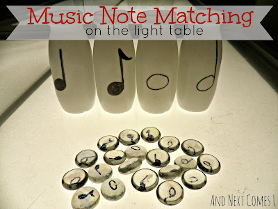 Music note matching game on the light table from And Next Comes L