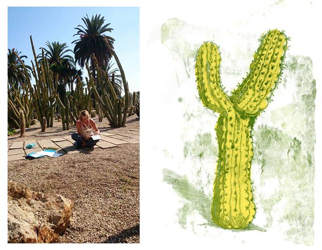 Monotype sketch monotipia skizze kaktus cactus