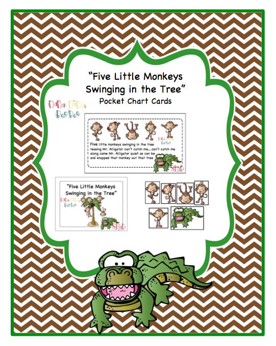 Five Little Monkeys Swinging In A Tree Pocket Chart Cards