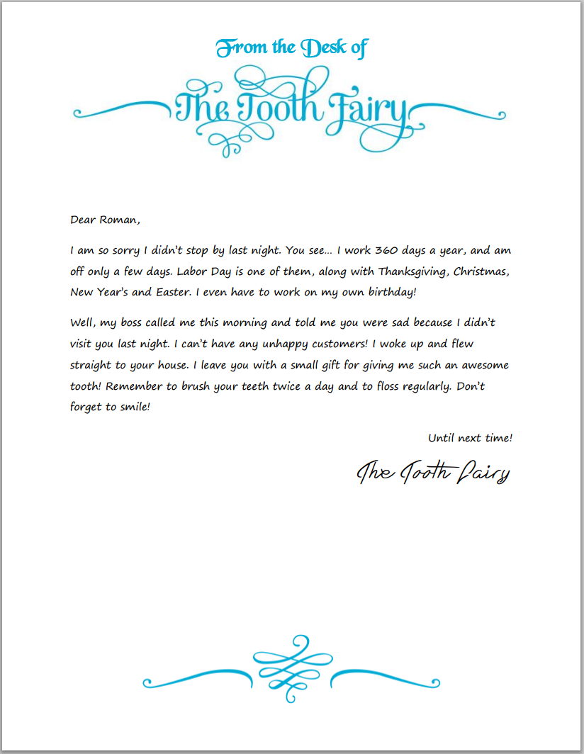 letter from the tooth fairy template - tooth fairy writing paper