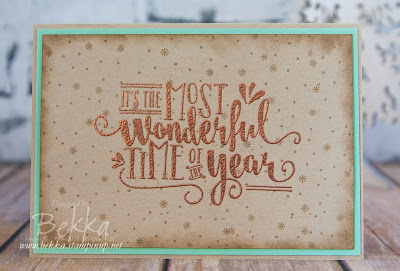 Copper Embossing on Crumb Cake for a Wonderful Year Christmas Card
