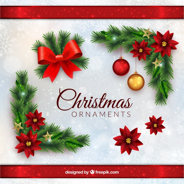 Christmas ornaments in realistic style Free Vector