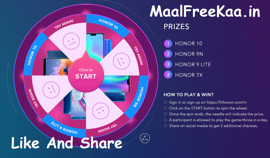 Spin And Win Honor Smartphone - Freebie Giveaway Contest