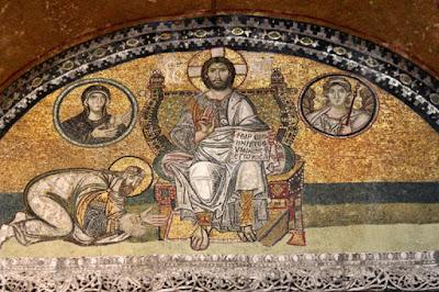 Ψηφιδωτό στην Αγία Σοφία (Κωνσταντινούπολη), που απεικονίζει τον Λέοντα ΣΤ' να αποτίει φόρο τιμής στον Χριστό.