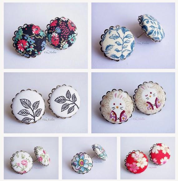 petites puces d'oreilles en tissu vintage, fleur et toile de jouy