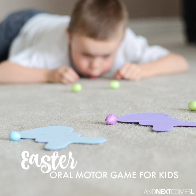 Easter oral motor sensory game & color matching activity for kids from And Next Comes L