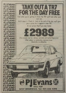 P J Evans West Bromwich advert May 1977