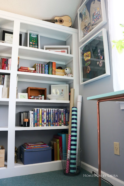 One Room Challenge Week 6 Home Office Sewing Craft Room Transformation Boy Girl Scout uniform award display