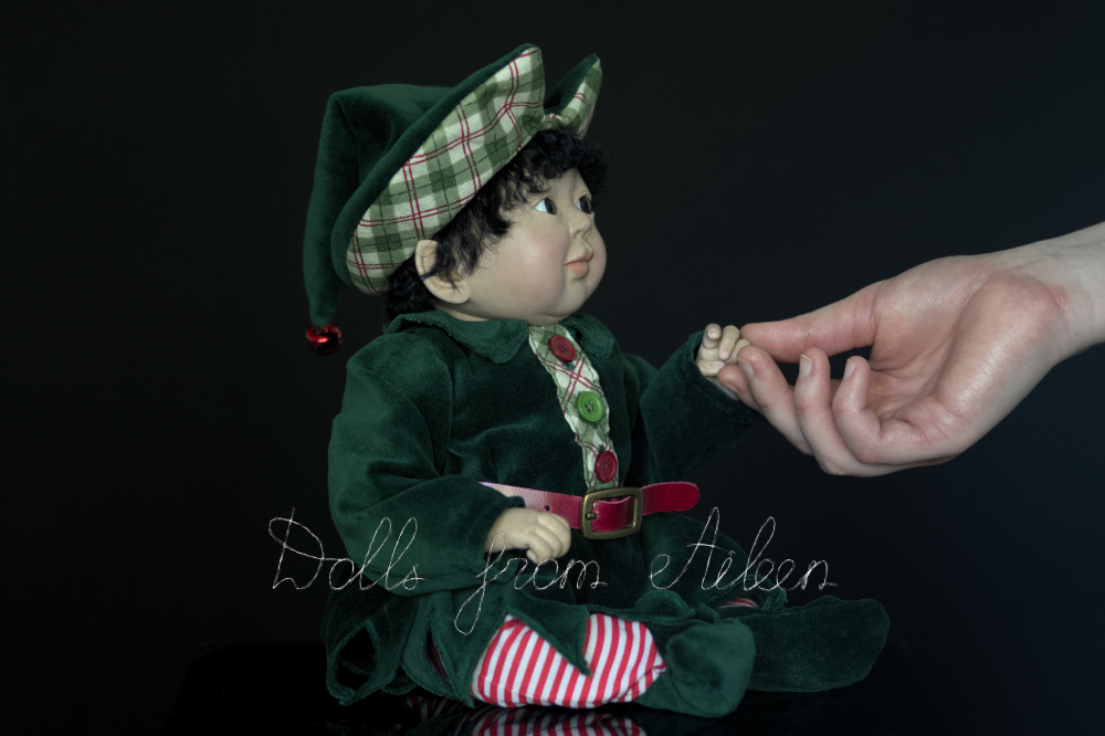 ooak Christmas elf art doll with human hand