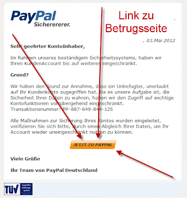 Paypal Betrugs E-Mail