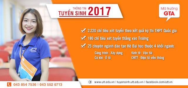 Điểm chuẩn trường ĐH Công Nghệ Giao Thông Vận Tải 2016-2017