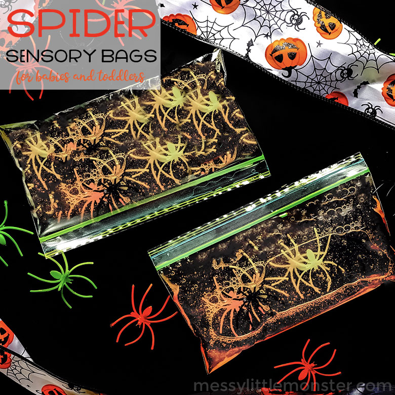 Spider Sensory bags for babies and toddlers. These fun sensory bags with hair gel make great autumn or halloween activities for toddlers. Your baby will love these sensory bag ideas!