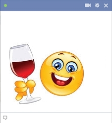 Emoticon with glass of red wine