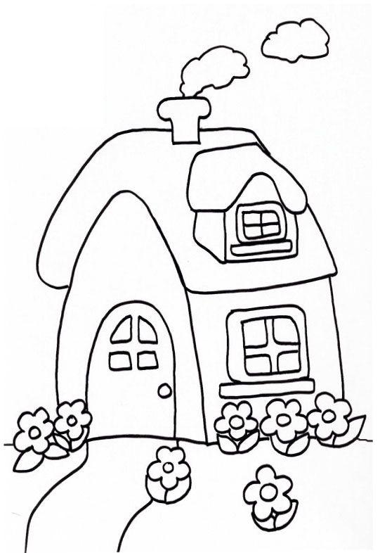 Tranh tô màu ngôi nhà cho bé mầm non 06