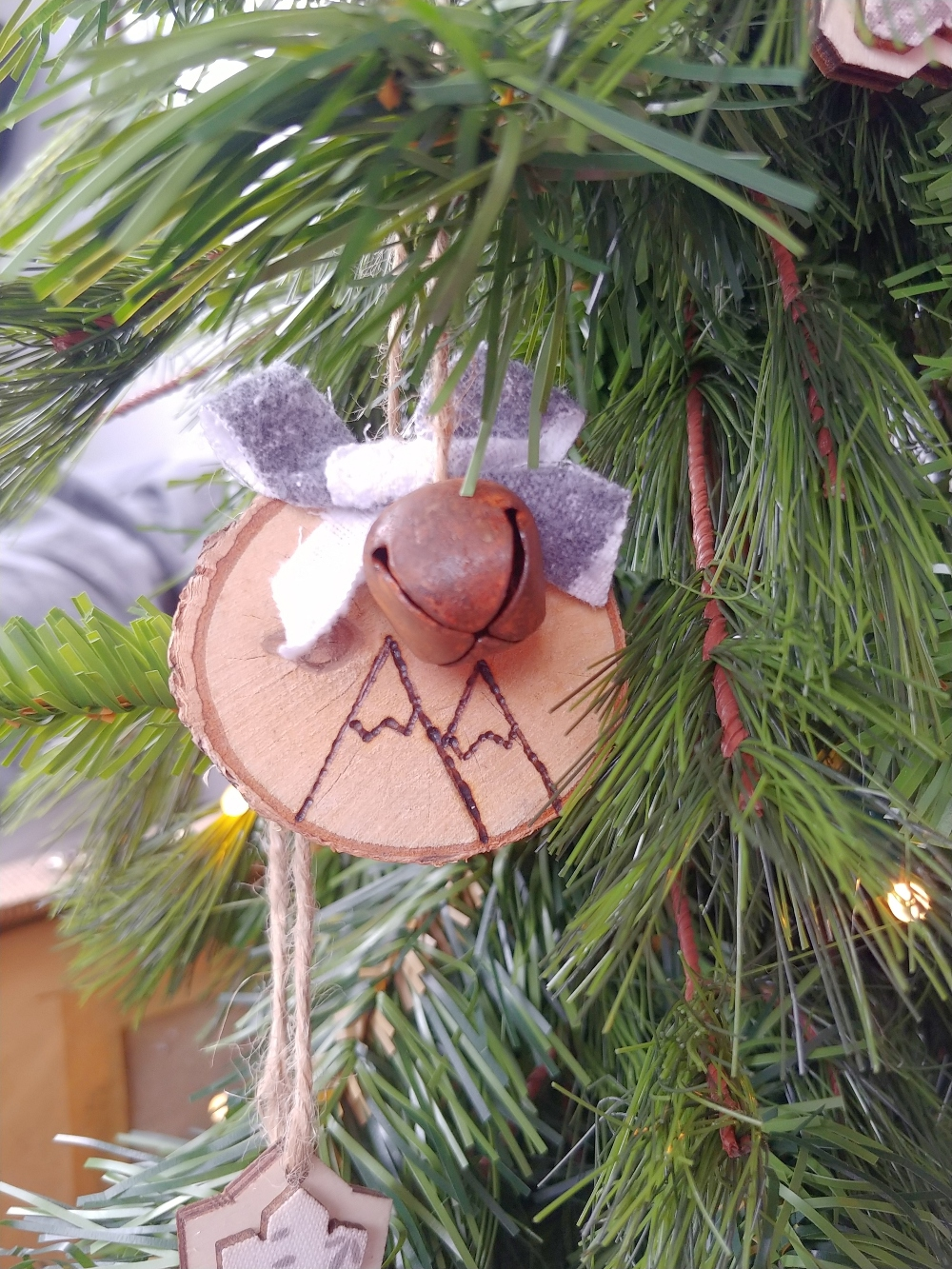wood burned mountain ornaments